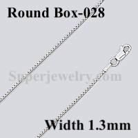 Round Box 028 Sterling Silver Chain